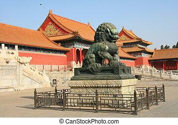 cidade, proibidas, estátua, dragão