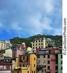 cidade, província, Itália, aéreo,  vernazza, Noroeste,  la,  -, vista, pequeno, italiano,  Liguria,  Spezia