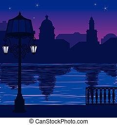 cidade, quay, night:, ilustração, skyline, lamppost, silueta