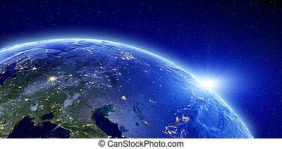 cidade, -, rússia, eurasia, luzes