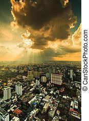 cidade, raios, nuvens, bangkok, luz, escuro, através,...