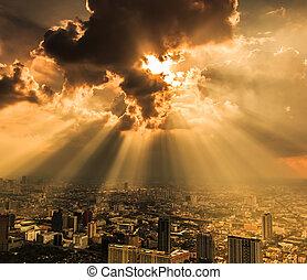 cidade, raios, nuvens, bangkok, luz, escuro, através, ...