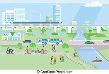 cidade, recreação, pessoas, proteção, ambiental, lazer
