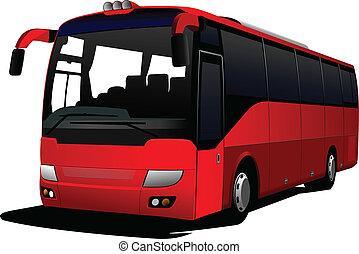 cidade, red-green, vetorial, bus., coach.