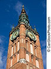 cidade, relógio, torre, principal,  Gdansk, corredor
