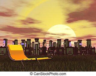 cidade, relaxamento, -, render, 3d