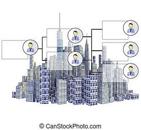 cidade, representado, isolado, skyline, fundo, branca, organigram, 3d