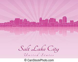 cidade, roxo, radiante, lago, skyline, sal, orquídea