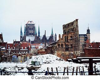 cidade, ruínas, polônia, gdansk, antigas