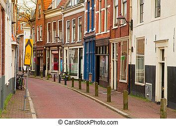 cidade, rua, antigas, haarlem