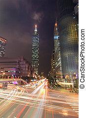 cidade, rua,  taïpei, noturna