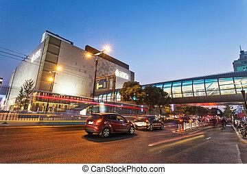 cidade, século, modernos, noturna, avenida, vista