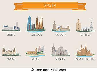 cidade, símbolo., espanha