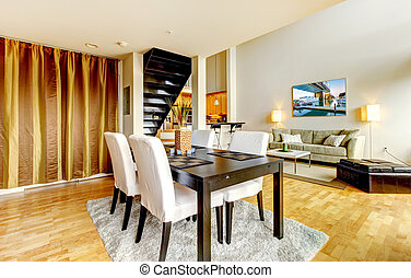 cidade, sala, modernos, jantar, interior, apartment.