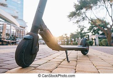 cidade, scooter, parque, elétrico, sunset.