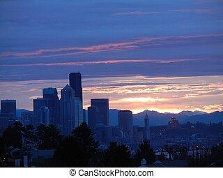 cidade, seattle, amanhecer