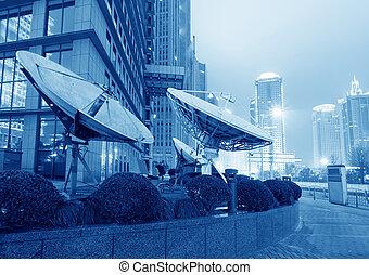 cidade,  Shanghai, finanças, zona,  &,  lujiazui, modernos, comércio, fundo, noturna