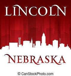 cidade, silhueta lincoln, nebraska, fundo, vermelho