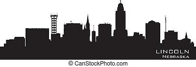 cidade, silhueta lincoln, nebraska, skyline, vetorial