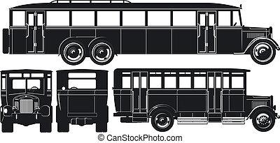 cidade, silhuetas, 30s, set., autocarro