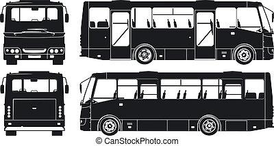 cidade, silhuetas, jogo, autocarro