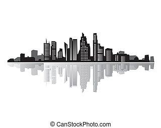 cidade, silhuetas, paisagem, pretas, casas