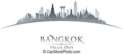 cidade, silueta, bangkok, skyline, fundo, tailandia, branca