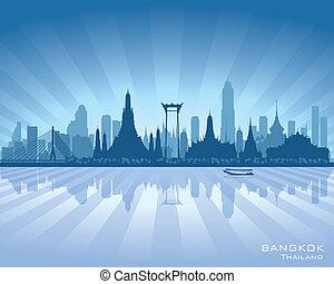 cidade, silueta, bangkok, skyline, vetorial, tailandia