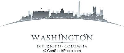 cidade, silueta, c.c. washington, skyline, fundo, branca