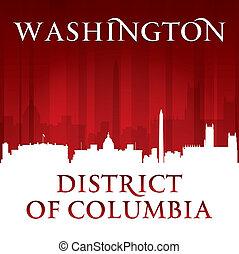 cidade, silueta, c.c. washington, skyline, fundo, vermelho