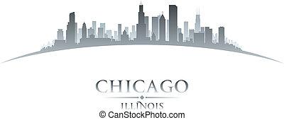 cidade, silueta, chicago, illinois, skyline, fundo, branca