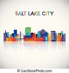 cidade, silueta, coloridos, lago, skyline, geomã©´ricas, sal, style.