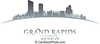 cidade, silueta, correntezas, michigan, skyline, fundo,...