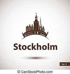 cidade, silueta, estocolmo, vetorial, sweden., skyline.