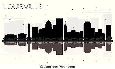 cidade, silueta, eua, louisville, kentucky, skyline, pretas...