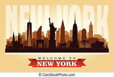 cidade, silueta, eua, skyline, vetorial, york, novo