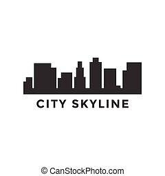 cidade, silueta, ilustração, skyline, vetorial, desenho, modelo