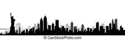 cidade, silueta, ilustração, skyline, vetorial, york, novo