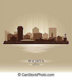 cidade, silueta, kansas, wichita, skyline, vetorial