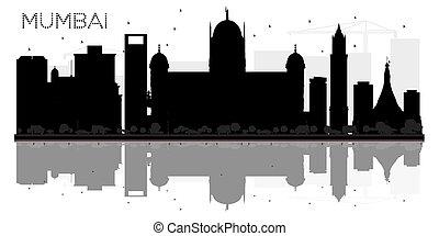 cidade, silueta, mumbai, reflexão., skyline, pretas, branca