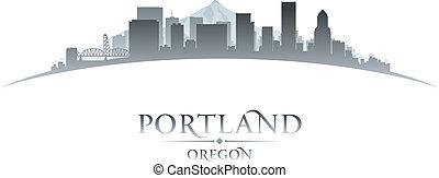 cidade, silueta, oregon, skyline, fundo, portland, branca
