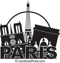 cidade, silueta, paris, ilustração, skyline, círculo preto,...