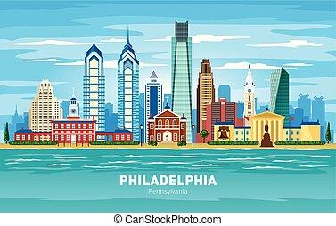 cidade, silueta, pensilvânia, filadélfia, cor, skyline, vetorial