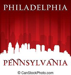 cidade, silueta, pensilvânia, filadélfia, skyline, fundo, vermelho
