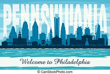 cidade, silueta, pensilvânia, filadélfia, skyline, vetorial
