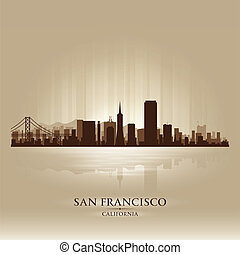 cidade, silueta, san, skyline, califórnia, francisco