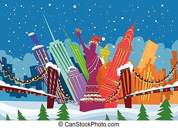 cidade, silueta, skyline, arranha-céu, ano, novo, natal, york