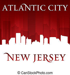 cidade, silueta, skyline, atlântico, jersey, fundo, novo, vermelho