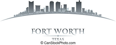 cidade, silueta, skyline, fundo, branca, valor, texas, forte