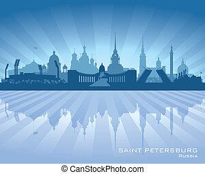 cidade, silueta, skyline, petersburg, são, rússia